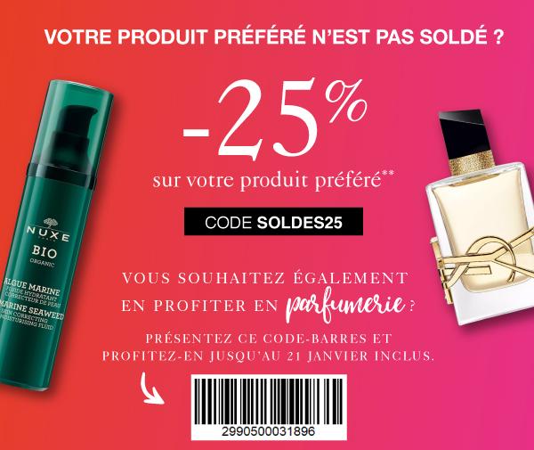 -25% sur votre produit préféré non soldé